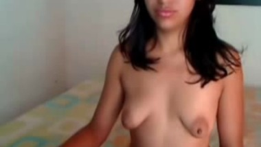 Indian College girlfriend fondles boobs over webcam