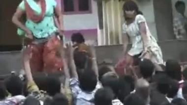 Local Indian girls from Andhra Pradesh dancing vulgar on stage video