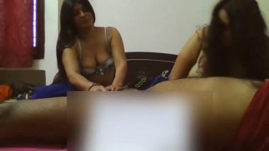 Sexy whores pleasuring client in hotel