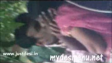 Cute college girl with her cousin in garden MMS