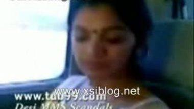 horny bhabhi exposing tits and fondling hard inside car MMS
