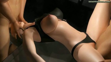 Animated babe gets drilled in threesome orgy