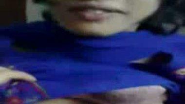 Desi Cute Blue Dress Boobs Show