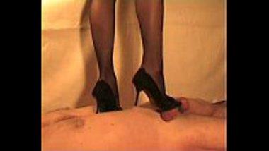NRI bhabhi trampling and stroking cock of her slave