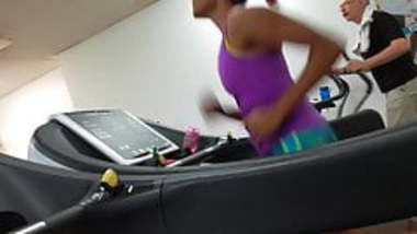 Beautiful Indian Runner on Gym Treadmill with Pokies