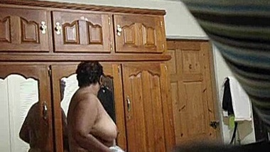 Hot Indian Stepmom with Big Tits Drying After Shower