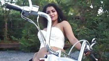 Indian mature Maya rati strips on motorcycle
