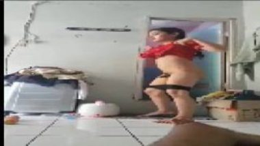 Hot Desi Shemale Wearing Panty After Peeing In Bathroom